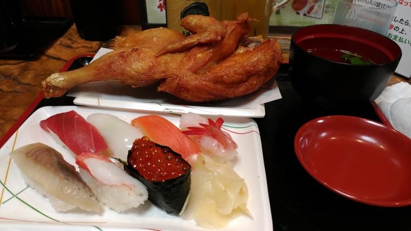 半身揚げと寿司のセット