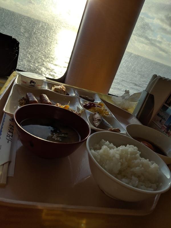 朝日と昼食